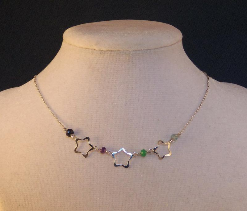 Three star and birthstone necklace